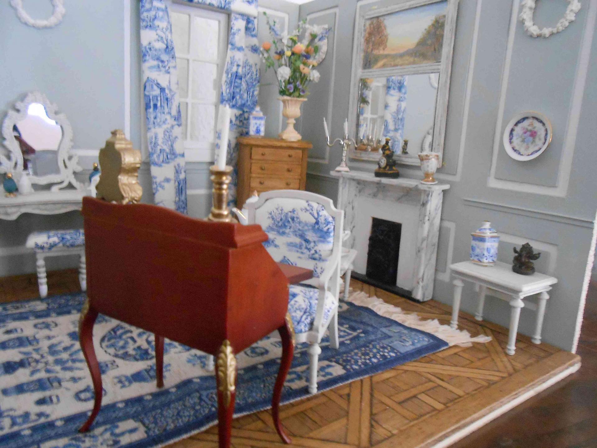 Miniature chambre Toile de Jouy