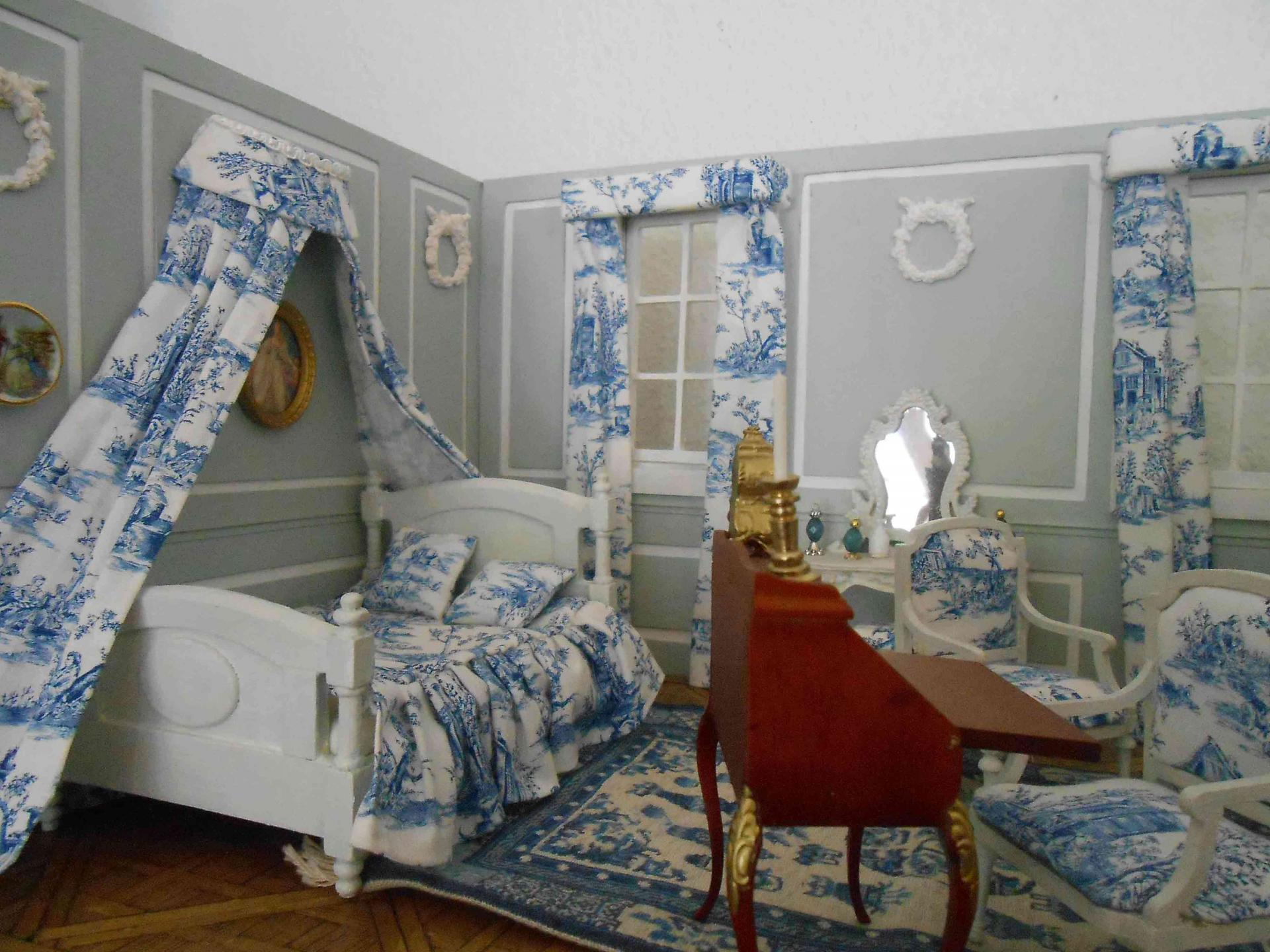 miniature chambre toile de jouy. Black Bedroom Furniture Sets. Home Design Ideas